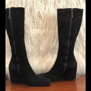 Prada Black Suede Wedge Boots Sz 38.5